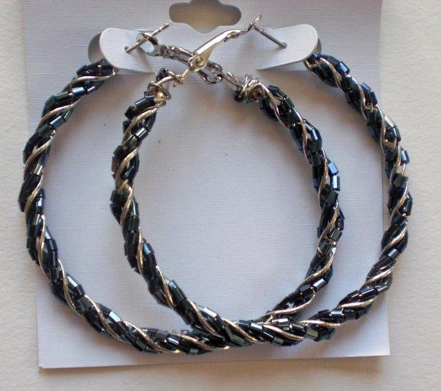 Beaded Hoop Earrings (Black)