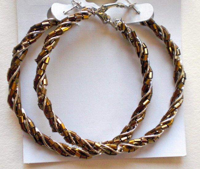 Beaded Hoop Earrings (Brown)