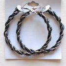Beaded Hoop Earrings (Gray)