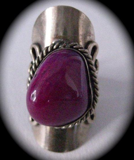 Silver Stone Ring (Dark Pink)