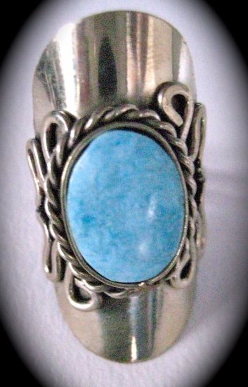Silver Stone Ring (Light Blue)