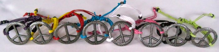 Peace Sign Braided Bracelets
