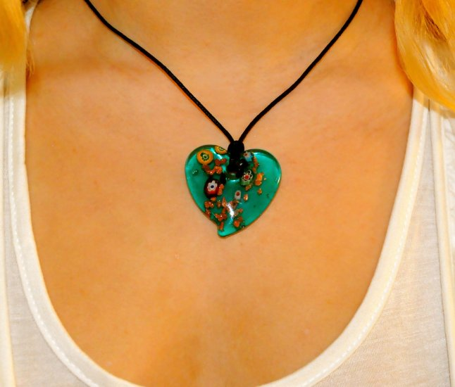 Marble Heart Necklace (Green)