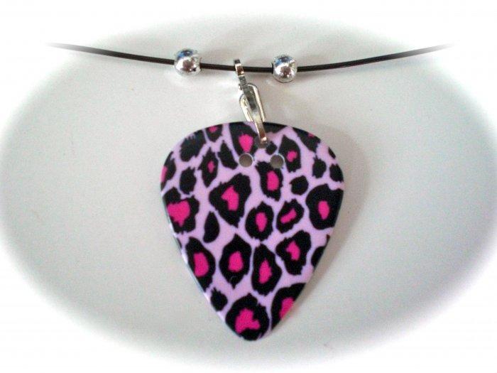 Leopard Guitar Pick Necklace
