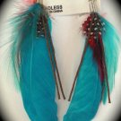 Feather Earrings (Blue)