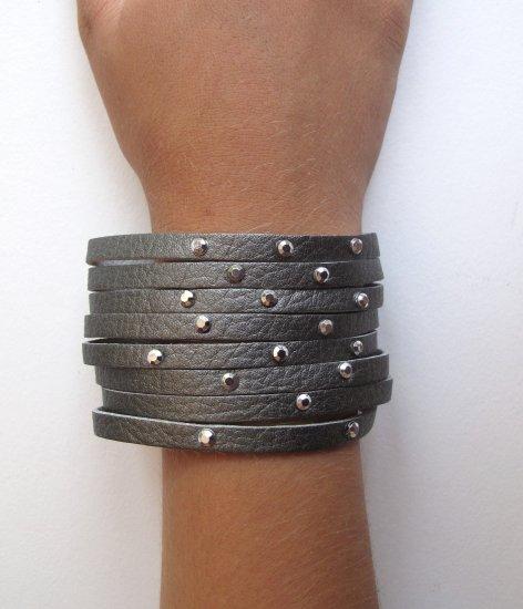Dark Silver Rhinestone Cuff Bracelet