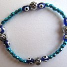 Evil Eye Metallic Turquoise Beaded Bracelet