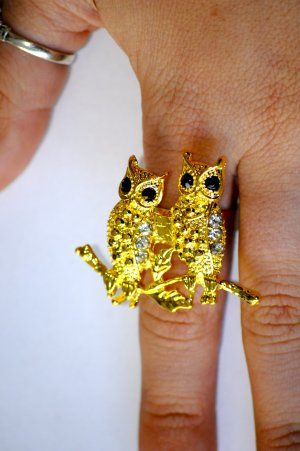 Perched Owls Ring (Many colors!)