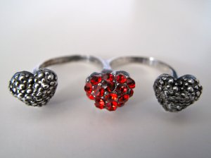 Double Finger 3 Heart Ring