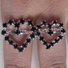Two Finger Heart Ring (Black)