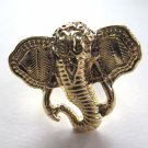Elephant Head Adjustable Ring (Gold w/ Purple)