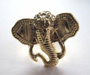 Elephant Head Adjustable Ring (Gold w/ Purple)