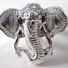 Elephant Head Adjustable Ring (Silver w/ Black)