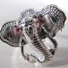 Elephant Head Adjustable Ring (Silver w/ Pink)