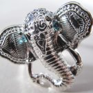 Elephant Head Adjustable Ring (Silver w/ Blue)
