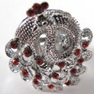 Peacock Rhinestone Ring (Red)