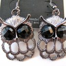 Small Owl Earrings (Dark Silver)