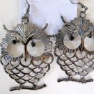 Large Owl Earrings (Dark Silver)