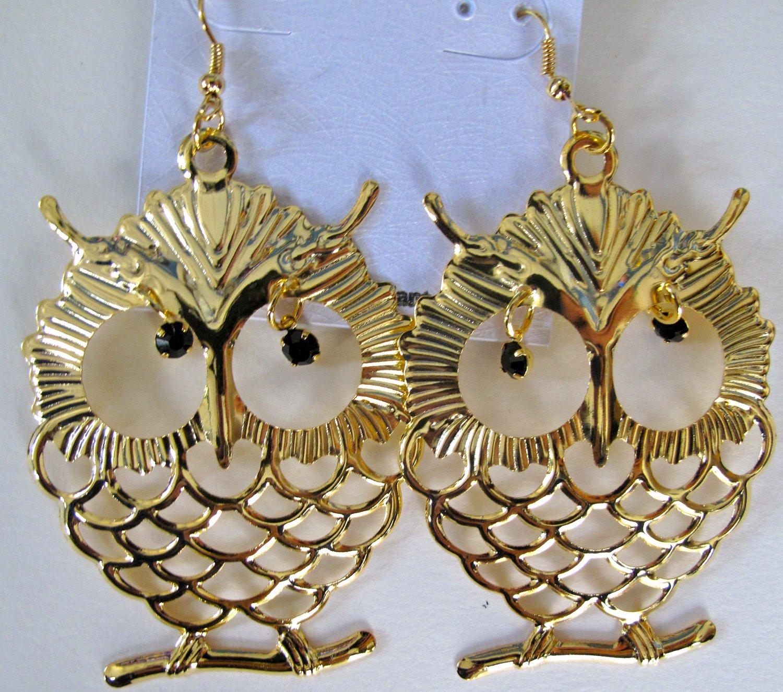 Large Owl Earrings (Gold)