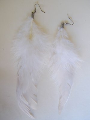 Large Feather Earrings (White)