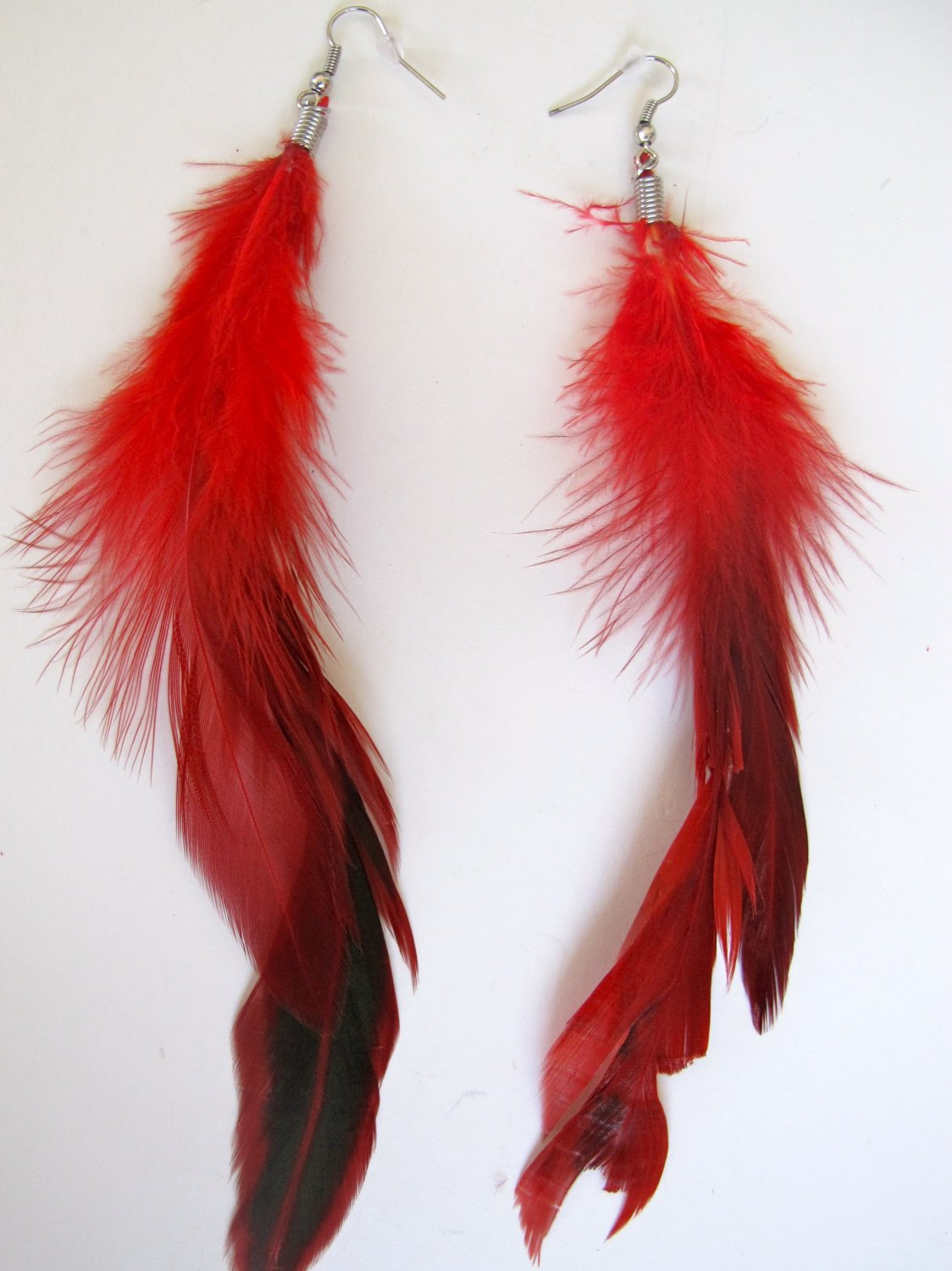 Large Feather Earrings (Red)