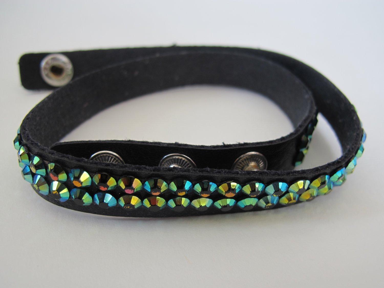 Double Wrap Rainbow Rhinestone Bracelet