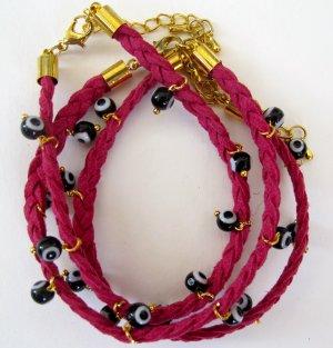 Evil Eye Bracelet (Dark Pink)