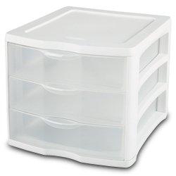 Sterilite ClearView Organizer #1791 White - 3-Drawer Desktop Storage