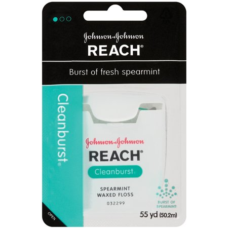 Johnson & Johnson Reach Cleanburst Spearmint Waxed Dental Floss, 55 yd