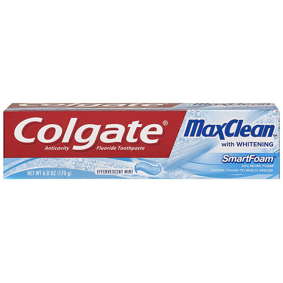 Colgate MaxClean with Whitening SmartFoam Toothpaste, Effervescent Mint, 6.0 oz