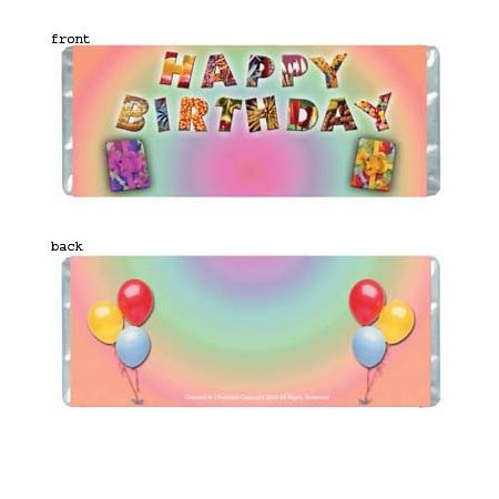 Birthday Joy Personalized Candy Bar Wrapper Only BD007
