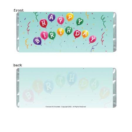 Birthday Balloons Personalized Candy Bar Wrapper Only BD015