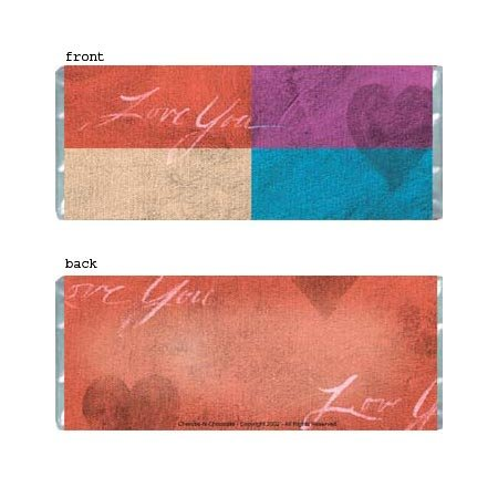 Love You Personalized Candy Bar Wrapper Only AP060