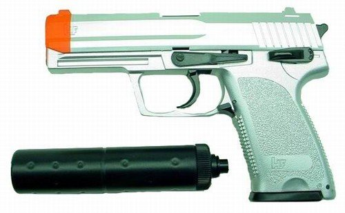 Hfc Usp Socom Airsoft Pistol With Mock Silencer (silver)