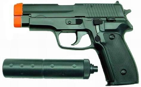 Hfc Sg226 Airsoft Pistol With Mock Silencer (black)