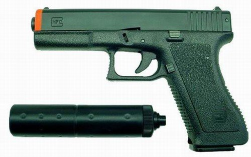 "Hfc ""glock 17"" Replica Airsoft Pistol With Silencer(black)"