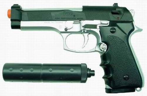 Hfc M92fs Replica Airsoft Pistol With Silencer(2-tone)