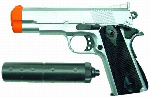 Hfc M1911 Replica Airsoft Pistol With Silencer (silver)