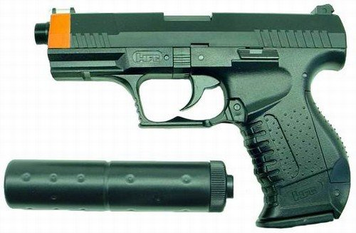 Hfc P99 Replica Airsoft Pistol With Silencer (black)