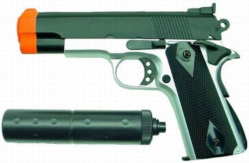 Hfc M1911 Replica Airsoft Pistol With Silencer (2-tone)
