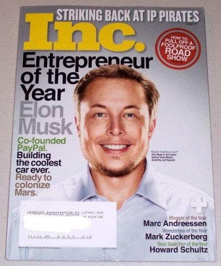 Inc Magazine December 2007 Back Issue Paypal Elon Musk