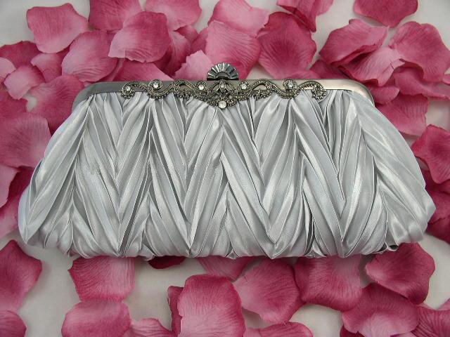 White Satin Pleated Purse Wedding Clutch Jewelry Evening Bags