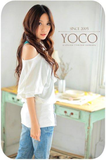 Korea Girl New Arrival Fashionable Short Sleeve off-Neck Buttons Lap T Shirt blouse #0102