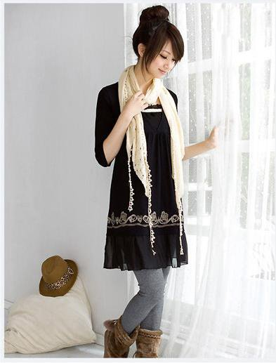 Korean Fashionable Flower Printing Three-quarter Sleeve Pullover Dress � Black #0062