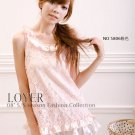 Sleeveless Crewneckwith Draped Bordering Hollow Flower dress – Pink #0117