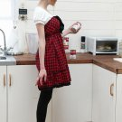 Wiping Bosom Style Draped Edging Bottom Plaid Dress with Front Black Draped Decorations #0120