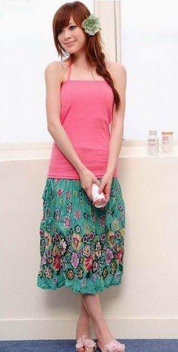 Korean Style Circle Motiff Skirt Dark F5-27-Green #0003