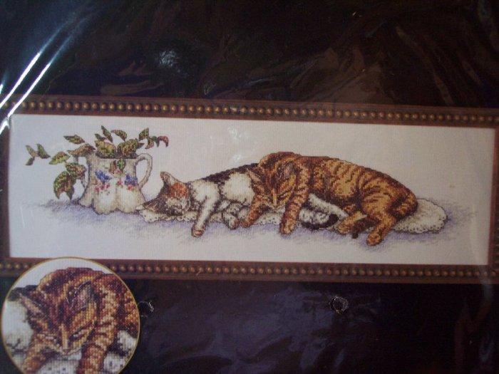 Sleeping Cats Cross Stitch Kit New