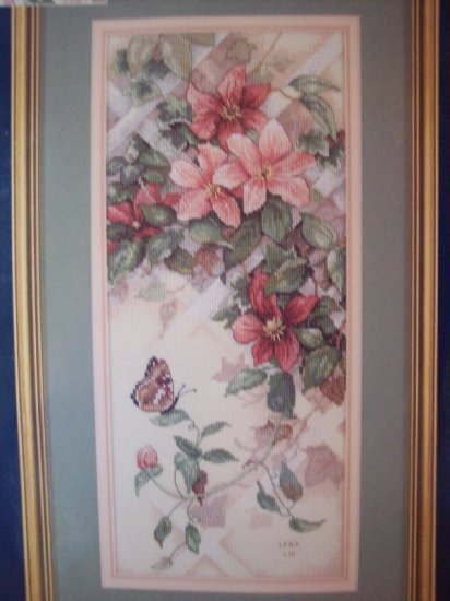 Butterfly & Clematis Cross Stitch Kit New