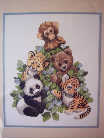 Cuddly Critters No Count Cross Stitch Kit New
